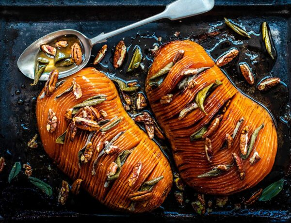 Maple Sage Hasselback Butternut Squash | Omm Foods